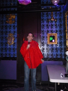 "Paul singing ""Poker Face"" at Kostume Karaoke."
