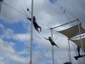 Eva doing a flying trapeze class.