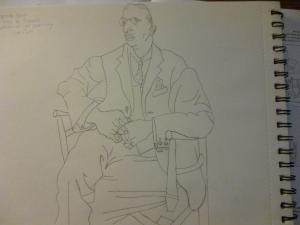 My sketch of Picasso's Portrait of Igor Stravinsky.