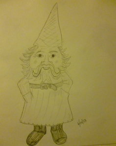 I did stick to my drawing routine over the long weekend.  For example, I drew this gnome.
