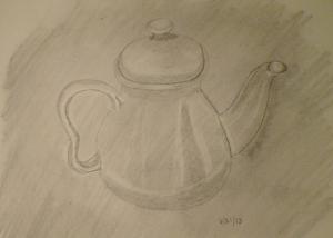 A realistic teapot?  Drawing by me, Eva Langston