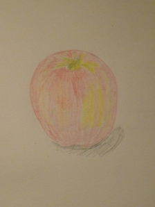 Good work.  You get a nice, red shiny apple.  Drawing by Eva Langston.