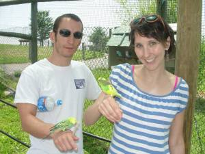 Me and Paul and our little budgie friends.