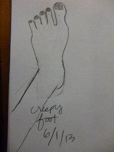 Drawing I did yesterday of my own foot.