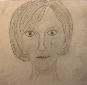 I would not have been able to draw this self-portrait without staring at myself in the mirror.