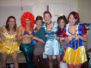Ghetto Disney Princesses -- Belle, Ariel, Pocahontas, Cinderella, Mulan, and Snow White -- with tattoos and grills.