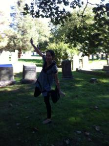 This is not me running. This is me dancing around in a graveyard.  That's the sort of thing I like to do.