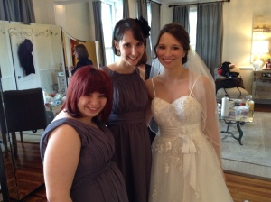 Melissa (the bride) with me and her sister, Jessie.  October 2013.