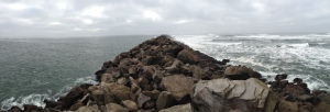 Columbia River on the left, Pacific Ocean on the right.  (North jetty at Cape Disappointment State Park.)