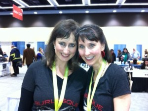 Jeni and Eva wearing Burlesque Press t-shirts.