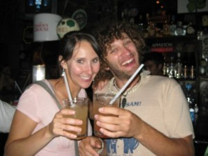 Eva and Corey celebrate the smacking with margaritas.