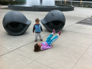 Eyes in the sculpture garden.  (The kids are the nose and mouth.)