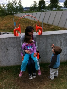 Eva with the kiddies at Olympic Sculpture Park.