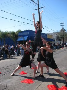 My friends and I doing a choreographed dance on the street during Mardi Gras.  Slightly different than a barre class...