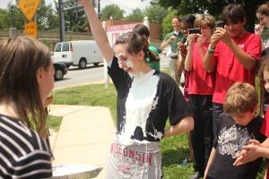 When I worked at another school for dyslexic students, I had to get a pie thrown in my face.  I forget why, exactly.  I think it had something to do with prom.