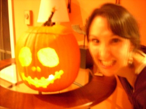 Here I am being creepy with a pumpkin.
