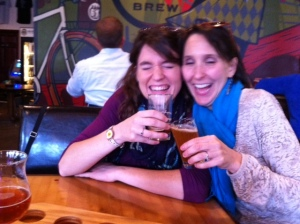 Cari and Eva, drinking beer after yoga.