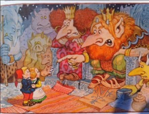 The goblin king and his troll queen.  Plus Fredrik and Lotta.  (From Treasured Tales of Christmas by Deborah Apy.)