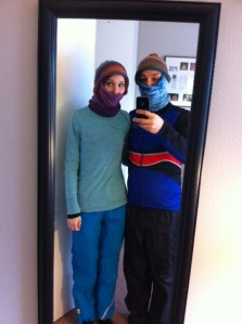 Wearing layers 1 and 2 and our crazy babushka things under our (matching) hats.