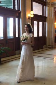 Eva walking towards Paul during the ceremony.