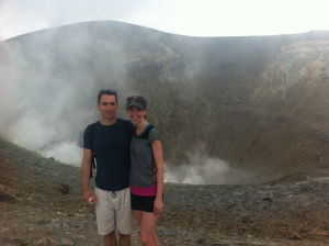Yes, that IS hot sulfuric smoke coming out of the crater behind us!