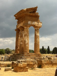 One of the temples in Agrigento...  right before the storm came and soaked us.