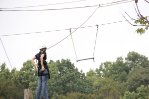 Here I am about to do the Leap of Faith at a ropes course about four years ago.