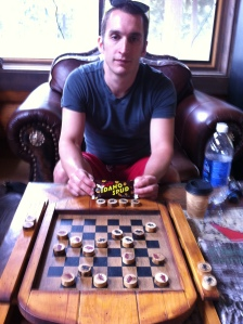Playing checkers at a road-side stop in Idaho.