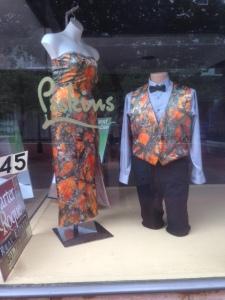Almost as weird as this camo formal wear we spotted in Cumberland, Maryland, our last stop on our cross-country drive.