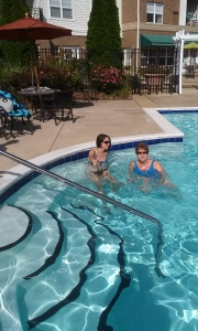 Me and my aunt in the pool...  where all good people should be on Labor Day.