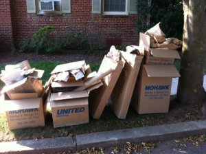Some of the many empty boxes from our move.