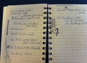 What my notebooks end up looking like -- messy and filled with doodles.