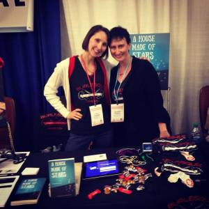 Eva and Jeni at the Burlesque Press booth.
