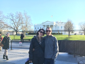 Eva and Paul in front of the White House. (Photo by Layla.)